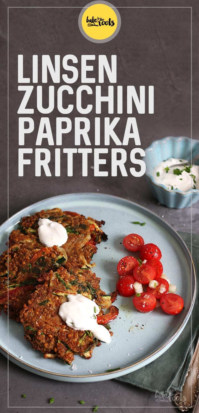 Linsen Zucchini Paprika Fritters | Bake to the roots