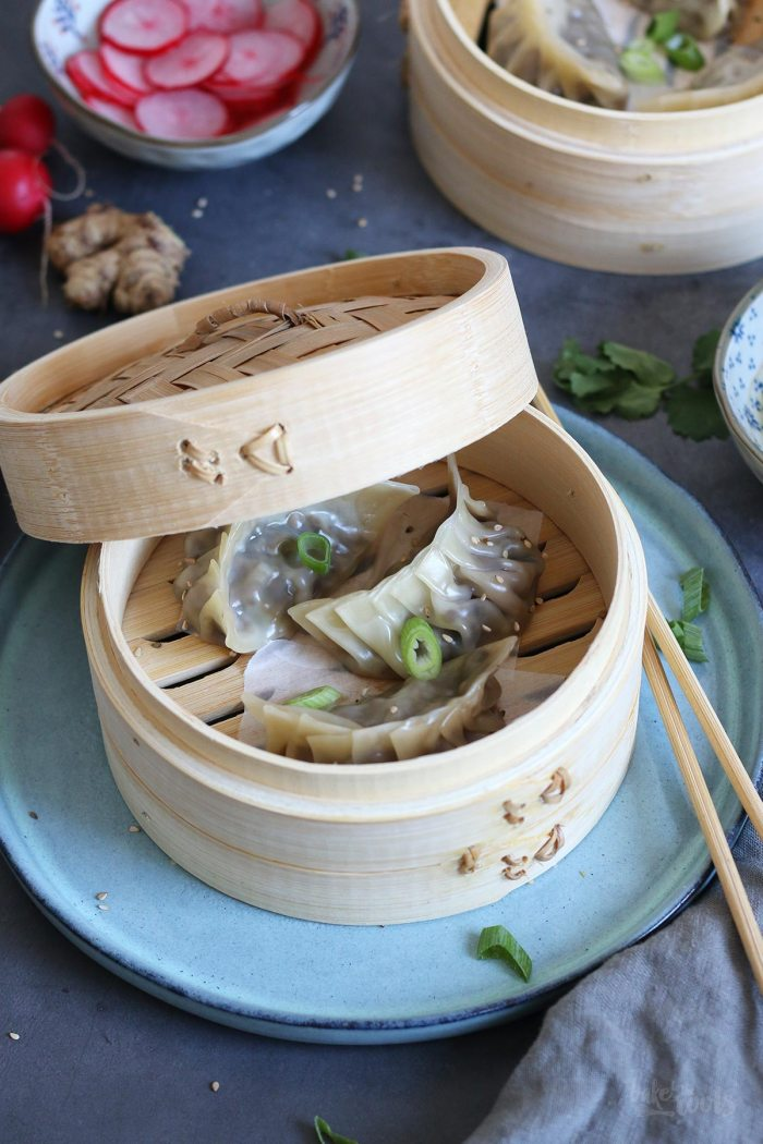Vegan Steamed Dumplings with Mushrooms & Napa Cabbage | Bake to the roots