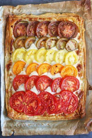 Ombre Tomato Tart with Gorgonzola & Mascarpone