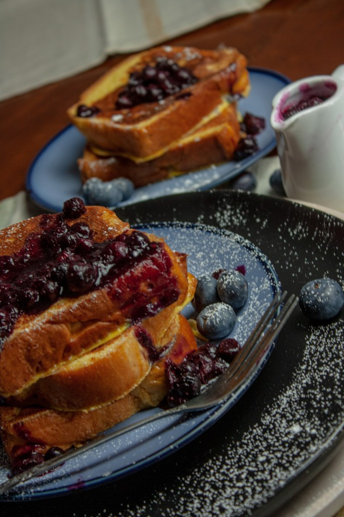 French toast with Blueberry Compote.