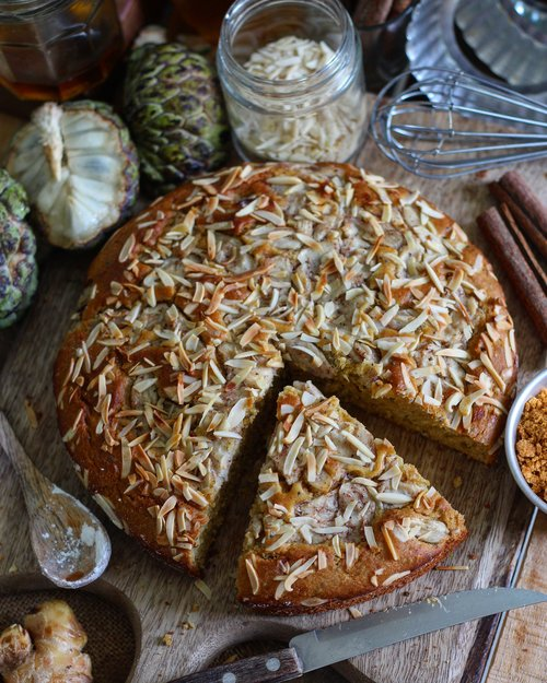 WHOLE WHEAT CUSTARD APPLE CAKE