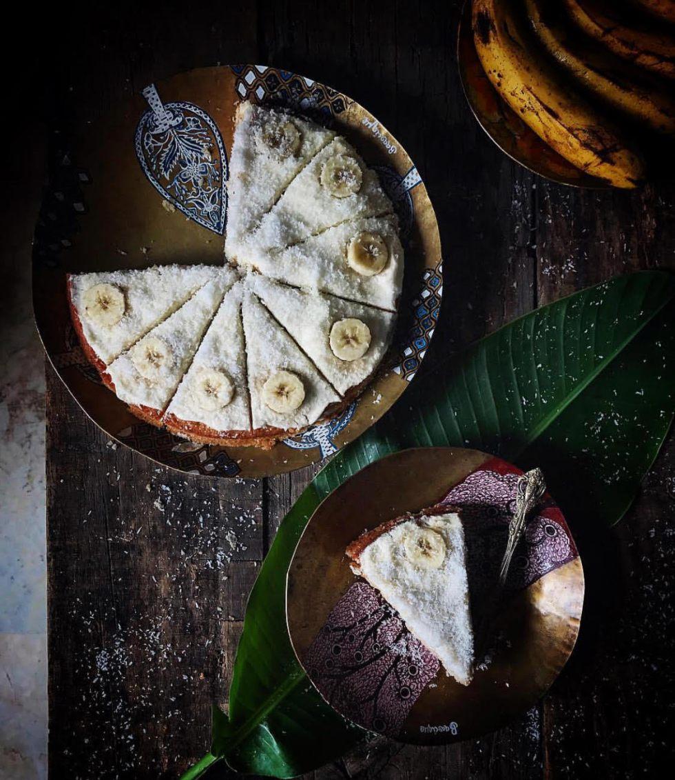 eggless banana coconut cake
