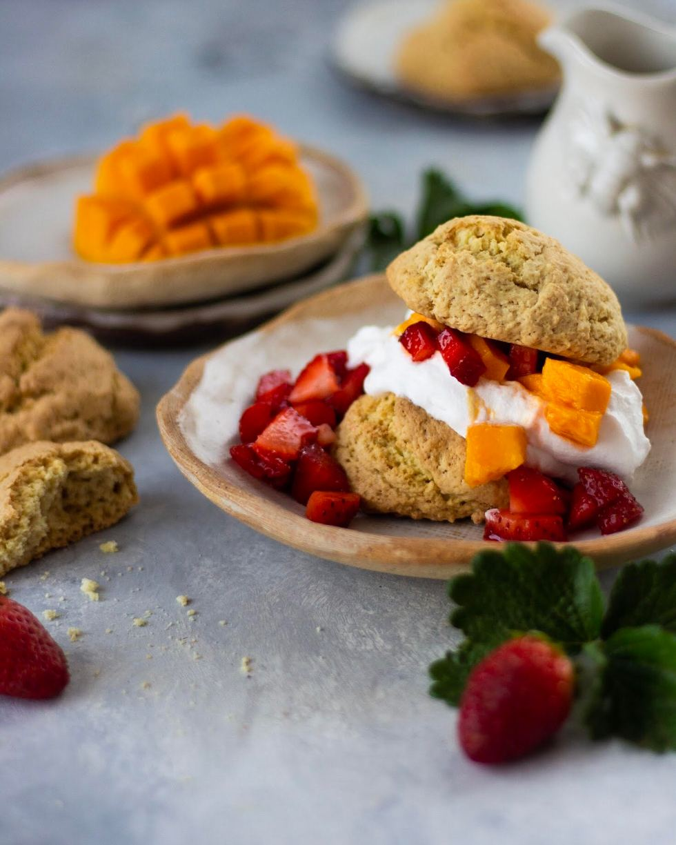 Mango and Strawberry Shortcakes
