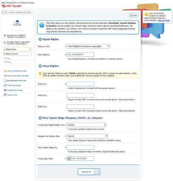 e-Devlet kapısından cep telefonu IMEI kaydet sayfası