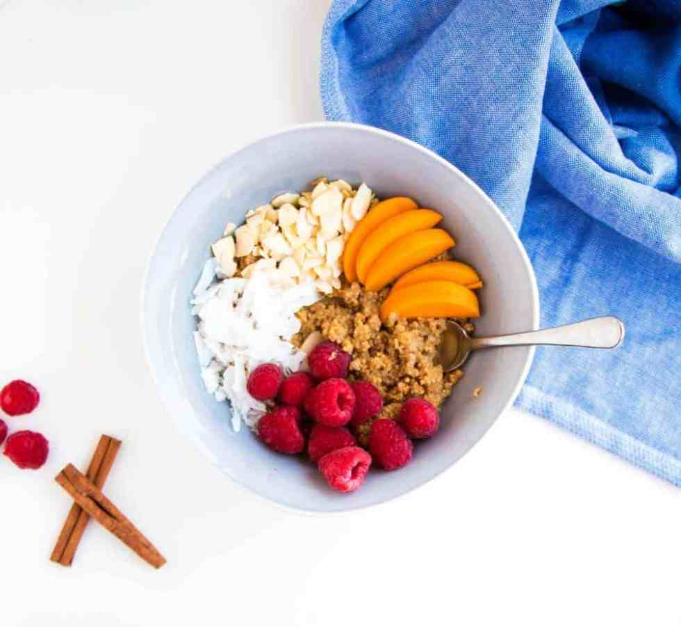 Cinnamon and Peach Quinoa Porridge - A delicious, extremely healthy breakfast packed with protein. The perfect way to start any day.