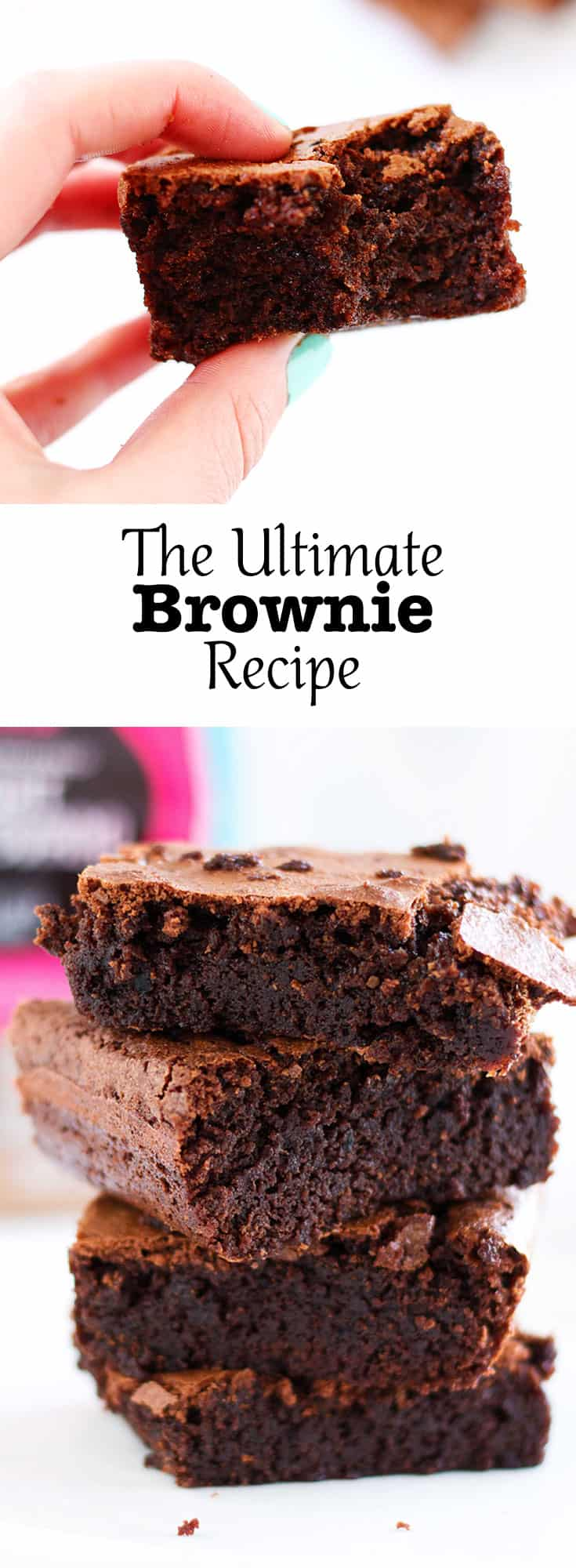 The Ultimate Brownie Recipe is the only brownie recipe you will ever need. The brownies are thick, chewy and super chocolatey. Made with unrefined sugars.