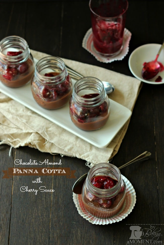 Chocolate Almond Panna Cotta with Cherry Sauce