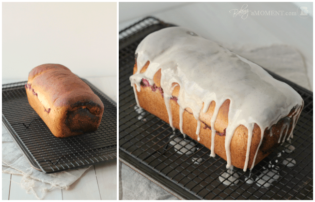 Whole Wheat Blackberry Cream Cheese Swirl Bread with Vanilla Bean Glaze | Baking a Moment