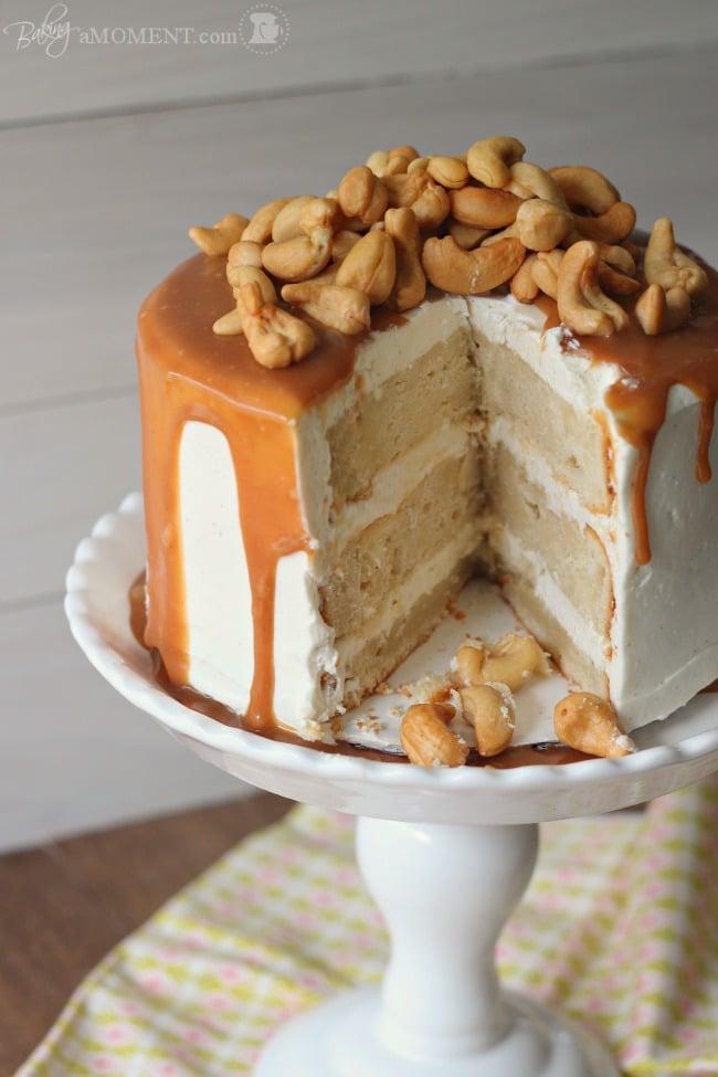 Vanilla Malt Cake with Cashews and Salted Caramel
