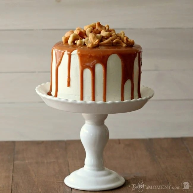 Vanilla Malt Layer Cake With Cashews And Salted Caramel Baking A