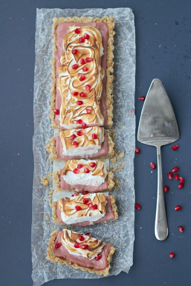 Pomegranate Meringue Tart with Brown Butter Shortbread Crust | Baking a Moment
