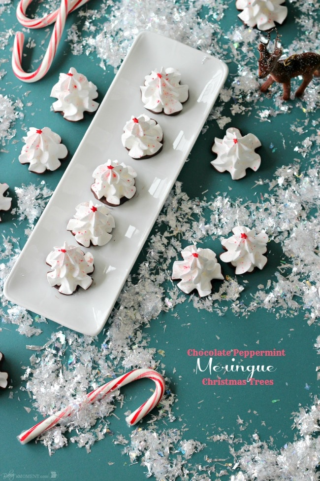 Chocolate Peppermint Meringue Christmas Trees | Baking a Moment