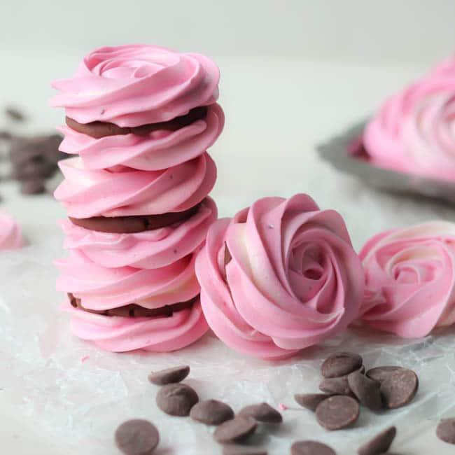 Raspberry Meringue Sandwiches with Whipped Dark Chocolate Ganache Filling