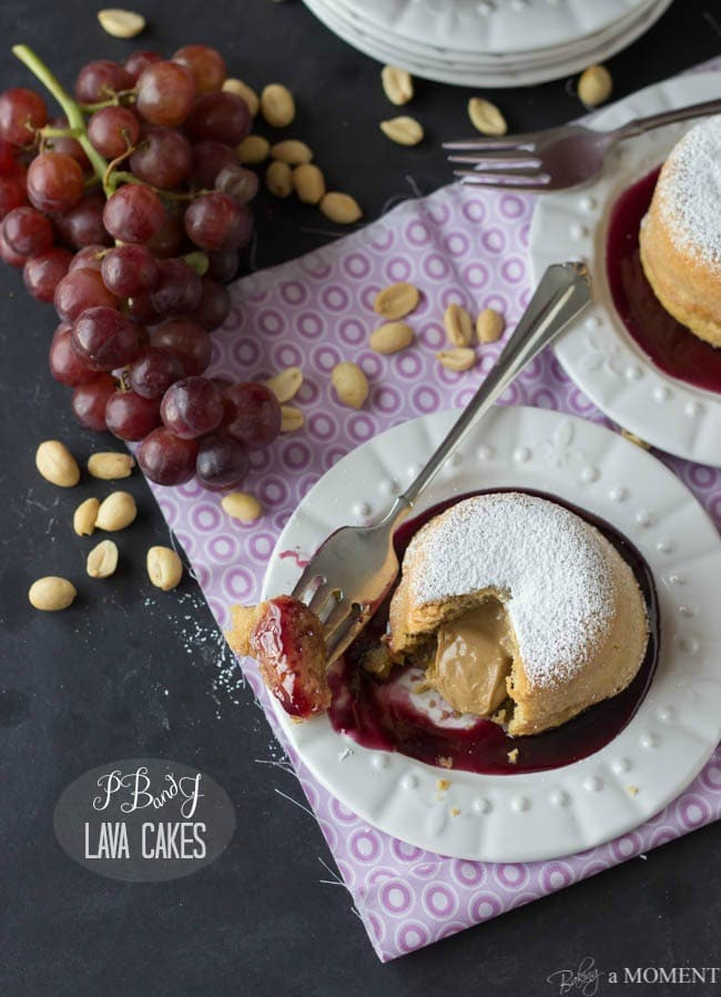 Peanut Butter and Jelly Lava Cakes | Baking a Moment