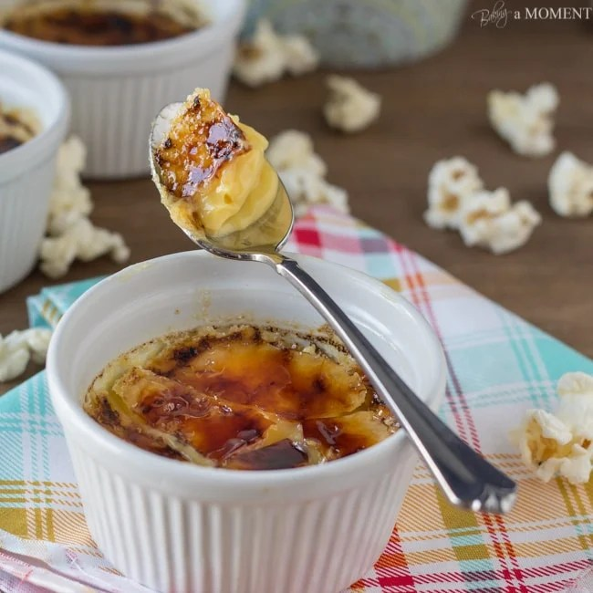 Buttered Popcorn Creme Brulee | Baking a Moment