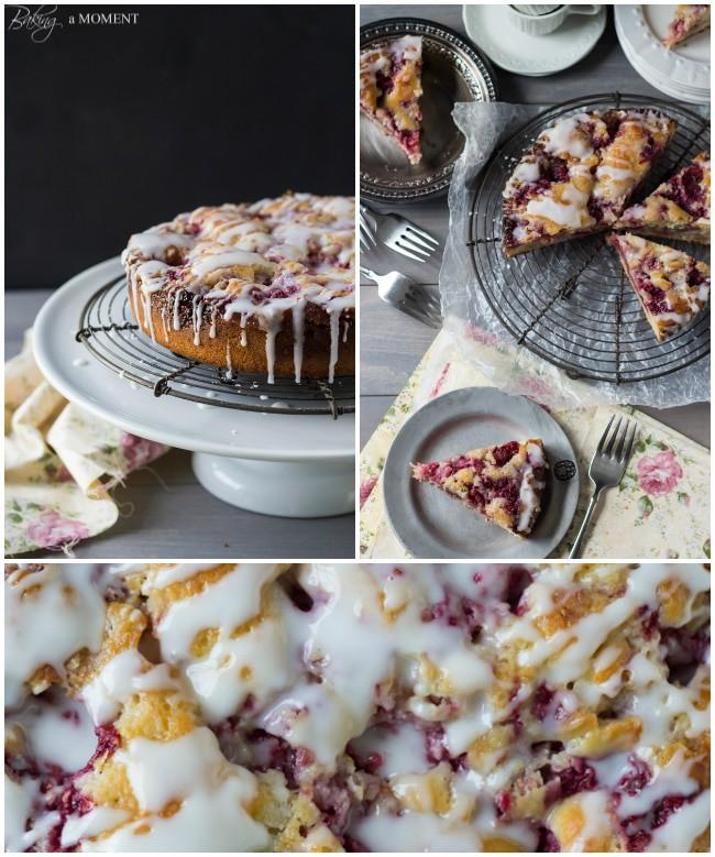 Raspberry Lemon Sweet Roll Cake with Buttermilk Glaze | Baking a Moment