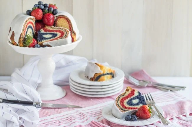 Red, White, & Blue Velvet Bundt Cake | Baking a Moment