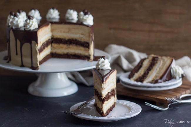 Salted Caramel Mocha Heaven & Hell Cake | Baking a Moment