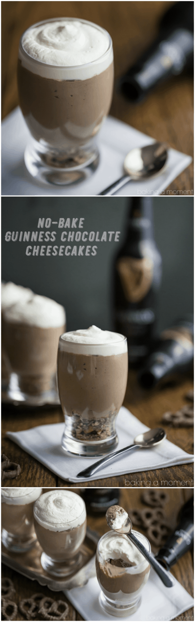 Easy St. Patrick's Day dessert recipe: no-bake chocolate cheesecakes with Guinness, on a crunchy pretzel crust! So fluffy and the flavors are amazing together!