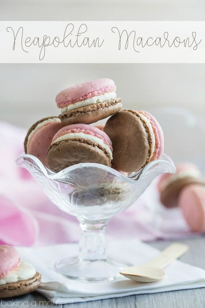 Neapolitan Macarons- Chocolate on one side, strawberry on the other, with a fluffy vanilla creme filling. The flavors are off the charts!