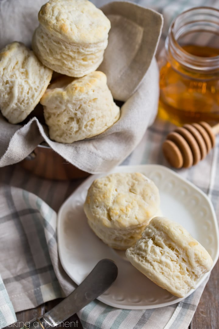 Tall, fluffy buttermilk biscuits just like your Southern Grandma made! Only 3 simple ingredients! #sponsored @whitelilyflour