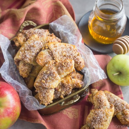 Apple Honey Rugelach: tender cream cheese pastries filled with charoset- an apple/honey/walnut mixture that's perfect for Rosh Hashana or any other fall occasion!