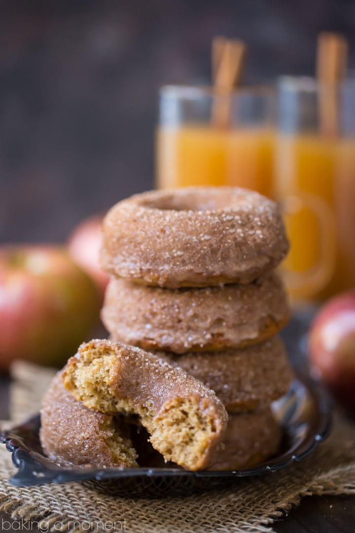 Baked Apple Cider Donuts: off-the-charts apple flavor and a crunchy cinnamon sugar coating. These will give the fried kind a run for their money!