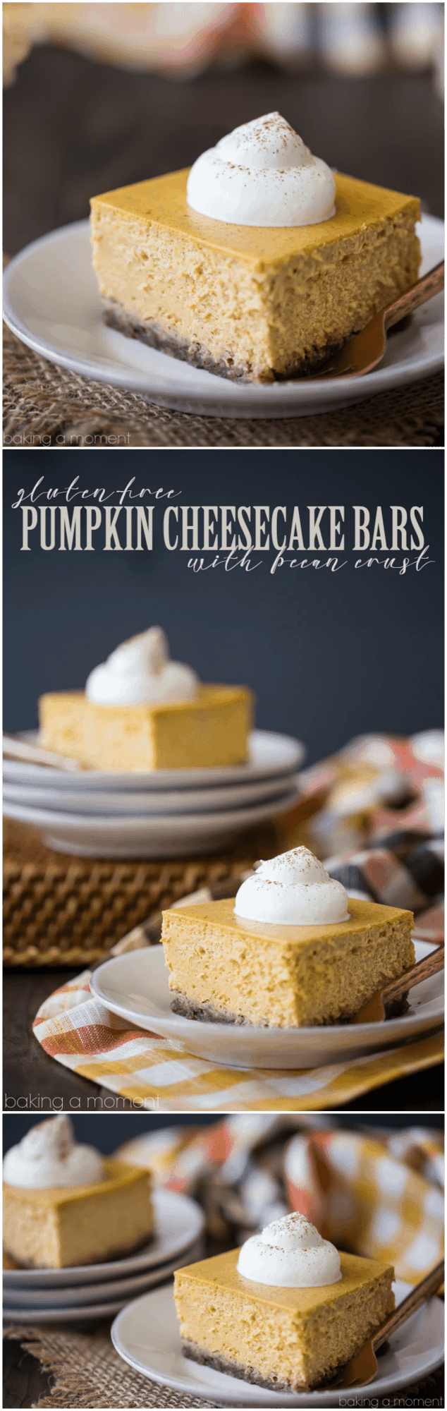Pumpkin Cheesecake Bars: Cool, creamy, and infused with real pumpkin & spice. Loved that these were naturally gluten-free, that nutty crust is perfection!