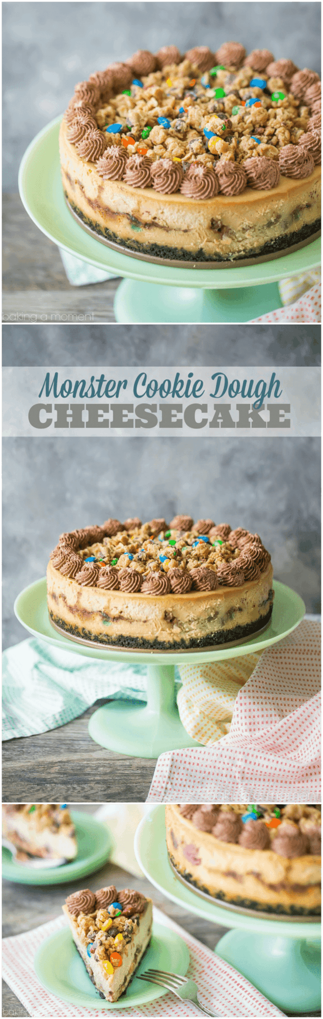 Monster Cookie Dough Cheesecake: OMG this dessert is completely over-the-top! Peanut butter cheesecake with hunks of peanut butter oatmeal m&m cookie dough, on an Oreo cookie crust, with more cookie dough on top and swirls of chocolate whipped cream. Such an incredible indulgence! food desserts cheesecake