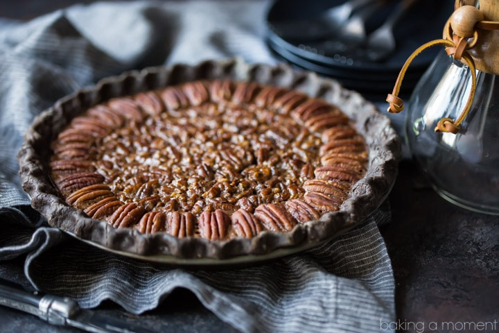 Double chocolate pecan pie: take your pecan pie to the next level, with a chocolate crust and sweet, sticky chocolate pecan filling. Made with no corn syrup!