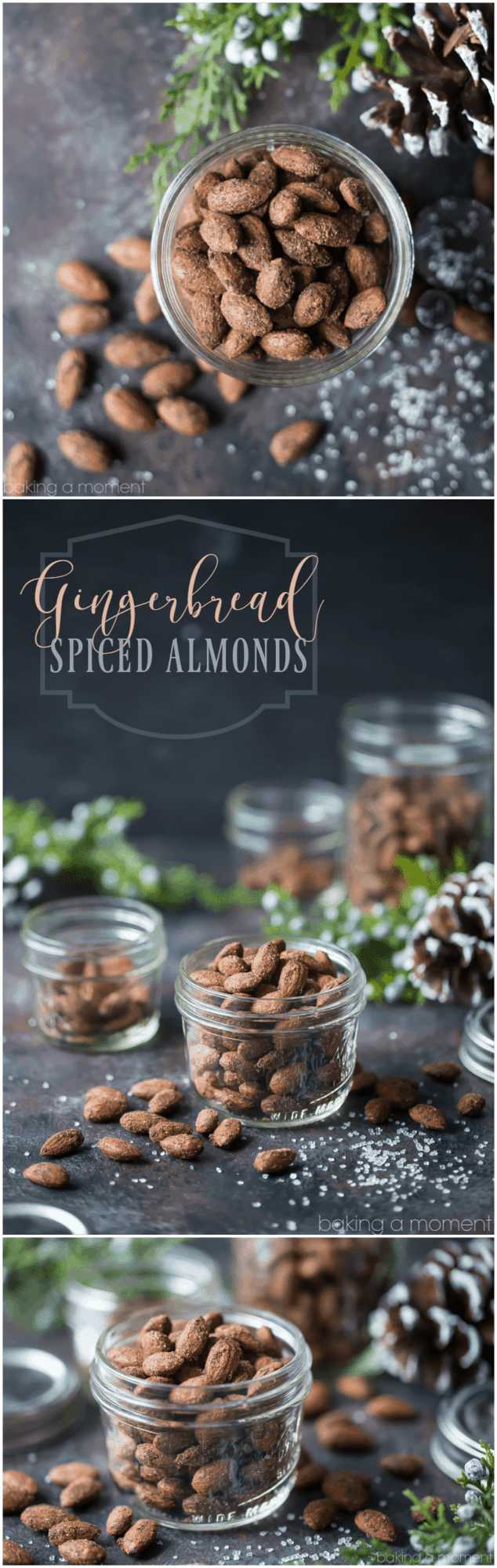 Gingerbread Spiced Almonds: these made a perfect last-minute holiday gift! Whipped up a big batch in just a few minutes, baked them off, and put them into pretty jars tied with ribbon. Tasted just like a gingerbread cookie! food holiday gift