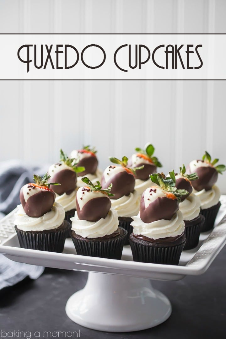 Tuxedo Cupcakes: moist, dark chocolate cake topped with rich ganache, fluffy whipped cream, and chocolate covered strawberries. These are so fun for a special occasion! food desserts cupcakes