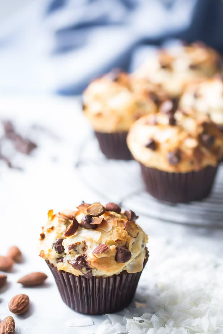 LOVED how tall and moist these Almond Joy Muffins came out! Chocolate, almonds, and coconut go so well together! food breakfast muffins