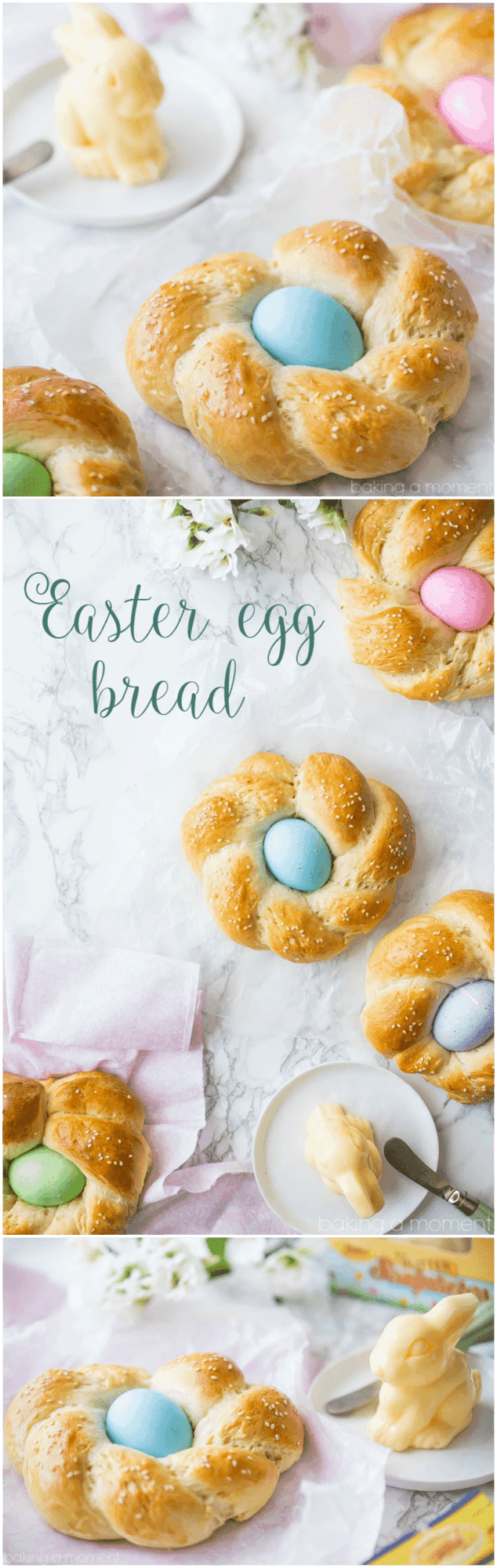 Easter Egg Bread: such a lovely way to celebrate Spring!  This bread is buttery, eggy, and a little sweet, with a hint of vanilla and orange blossom and the prettiest Easter egg nestled inside!  food bread easter