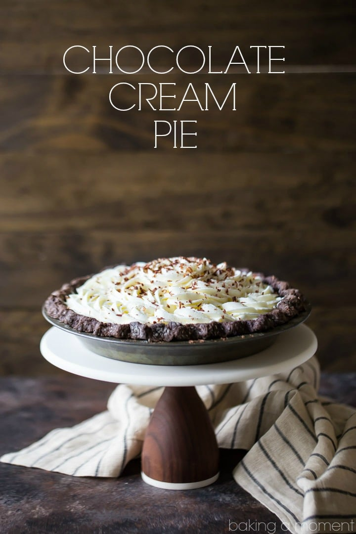 Chocolate cream pie with a fluffy no bake filling baking a moment easy chocolate cream pie chocolate crust no bake chocolate mousse filling and forumfinder Choice Image