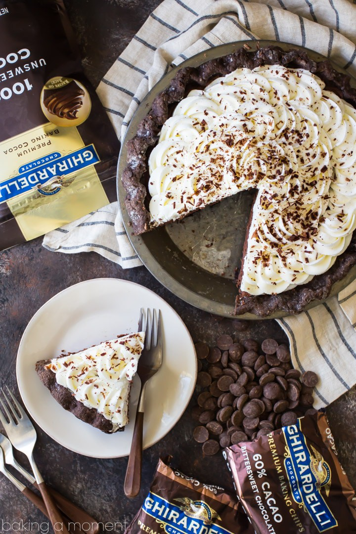 Easy Chocolate Cream Pie: chocolate crust, no-bake chocolate mousse filling, and swirls of fluffy whipped cream.  SO chocolate-y, and a perfect make-ahead dessert!  #food #recipes #desserts #chocolate #pie