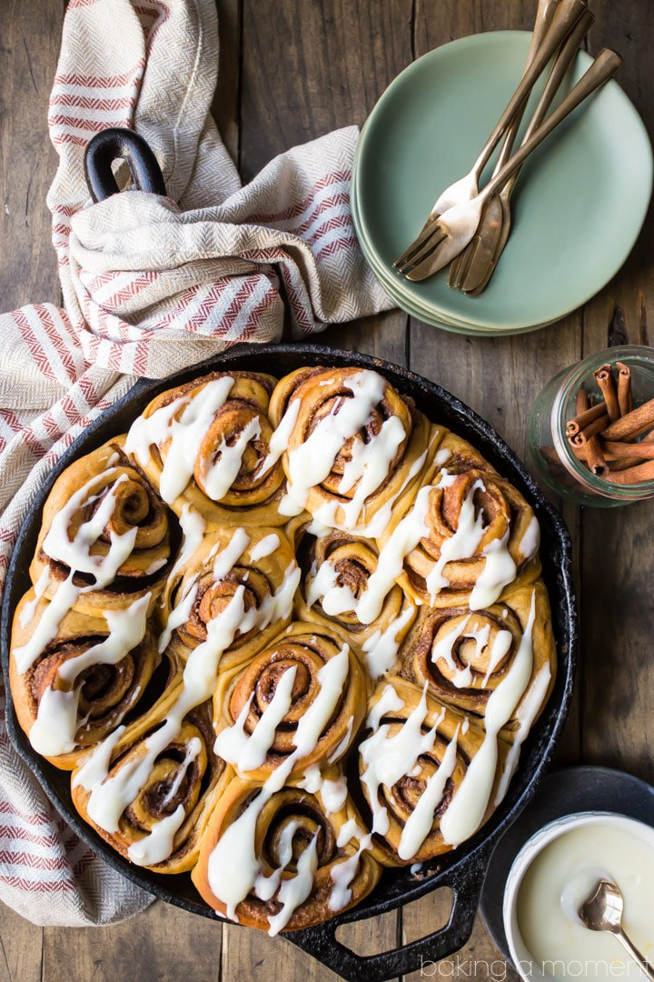 Gingerbread Cinnamon Rolls: so soft and gooey!  Loved the added warmth of ginger and molasses, and the lemon-y cream cheese icing was so good!  #food #cinnamonrolls #baking #brunch #breakfast #christmas #holiday #cinnabon