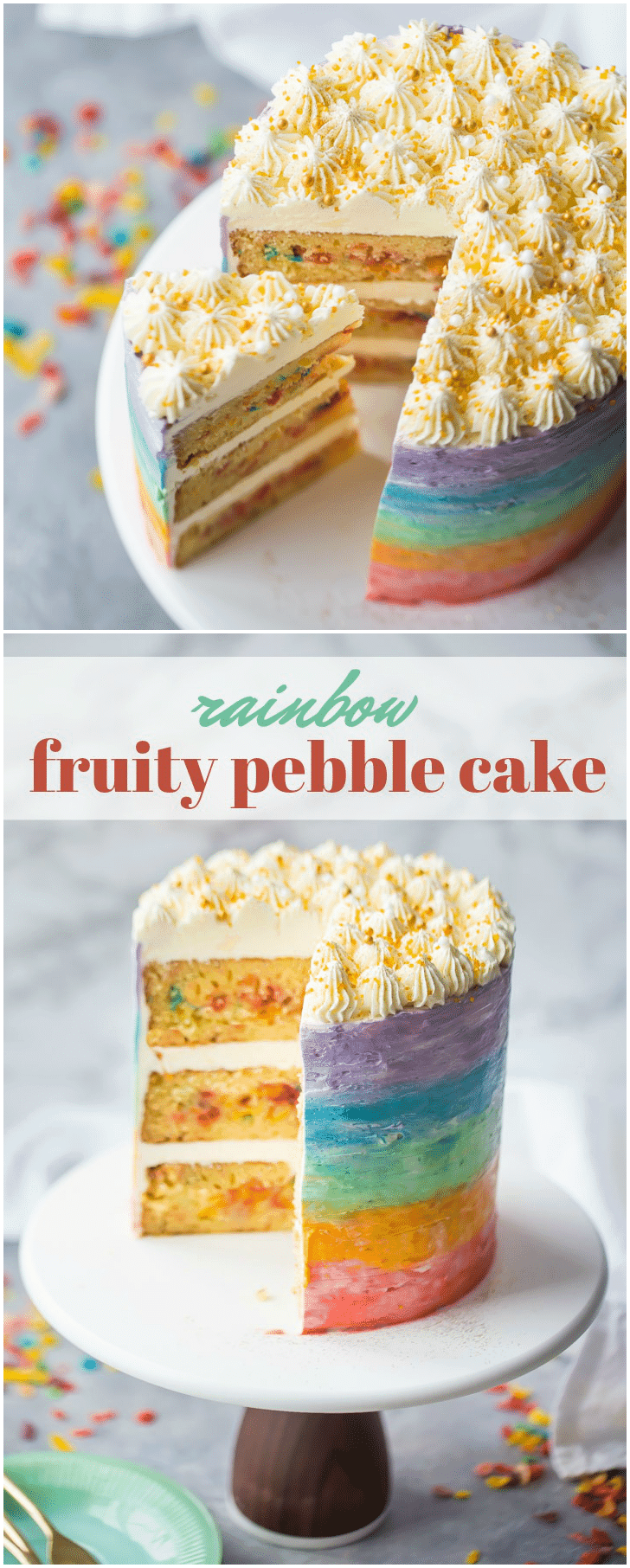 Rainbow fruity pebble cake!  With fruity pebbles cereal running all throughout, rainbow frosted sides and gold sprinkles on top!  It's like funfetti but BETTER!!  Perfect for St. Patrick's Day.  #rainbow #fruitypebbles #cereal #funfetti #cake #frosting #buttercream #stpatricksday #treats #baking #desserts #recipes