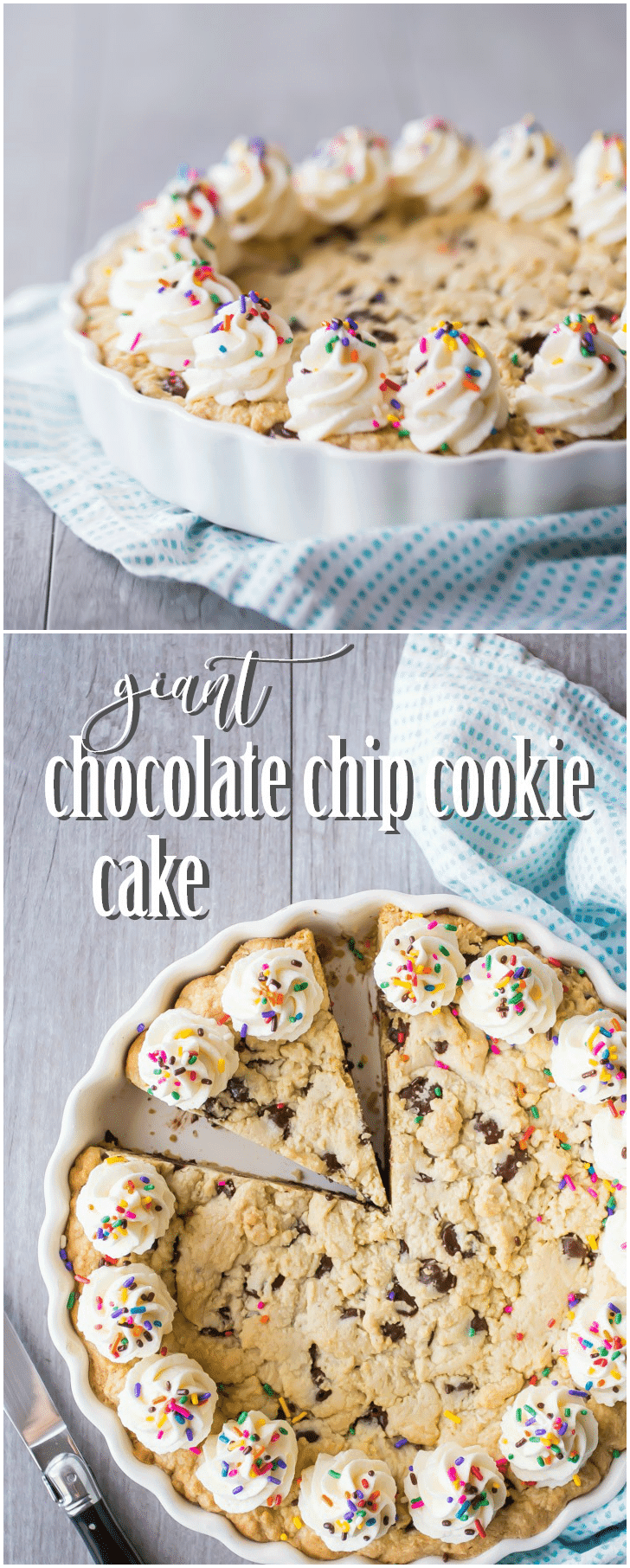 My family LOVES when I make this chocolate chip cookie cake! Everyone wants it for their birthday, it's so soft and gooey and chocolate-y! #chocolatechipcookiecake #chocolatechip #cookie #cake #easy #recipe #birthday #giant #decorated #homemade #best #icing #frosting #chewy #tollhouse #skillet #pizza #big #soft #deepdish #simple #gooey #ultimate #deliciousfood
