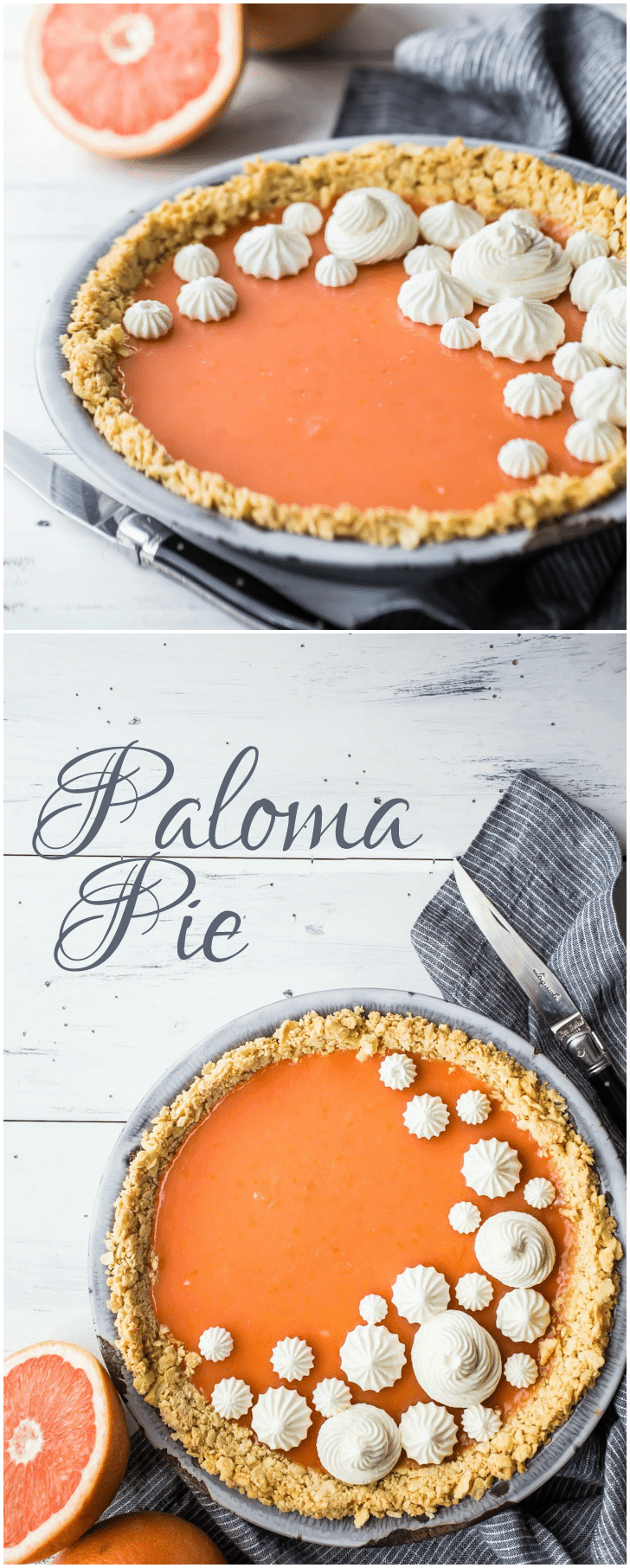 I made this Paloma Pie for Cinco de Mayo, and it was a huge hit! The tangy grapefruit-tequila filling was perfect with the crunchy saltine cracker crust.  Definitely making this again, it's so nice for summer!  #paloma #cocktail #drink #recipe #grapefruit #tequila #mexican #cincodemayo #pie #dessert #citrus #curd