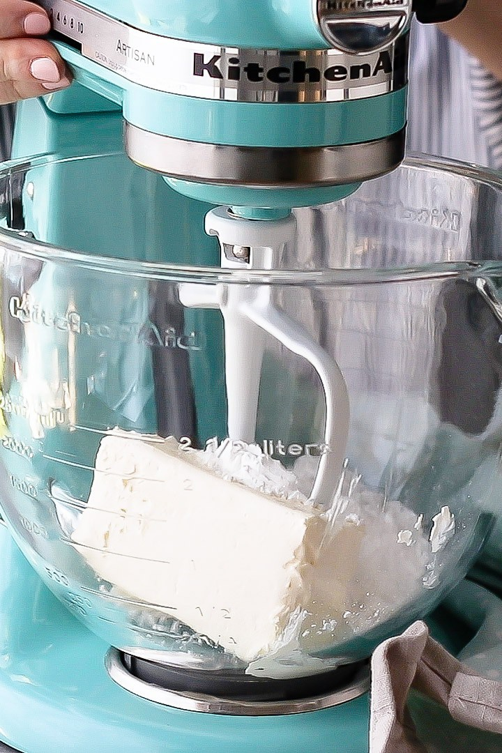 Cream Cheese Whipped Cream- a stabilized whipped cream topping that can be made up to 48 hours ahead.