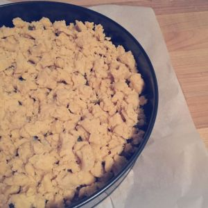 Veganer Pflaumenkuchen mit Pudding und Streuseln