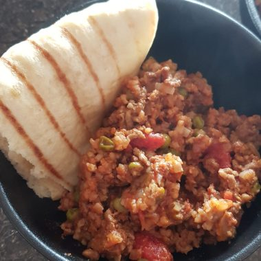 Massman lamb mince curry with brown basmati rice and flat bread