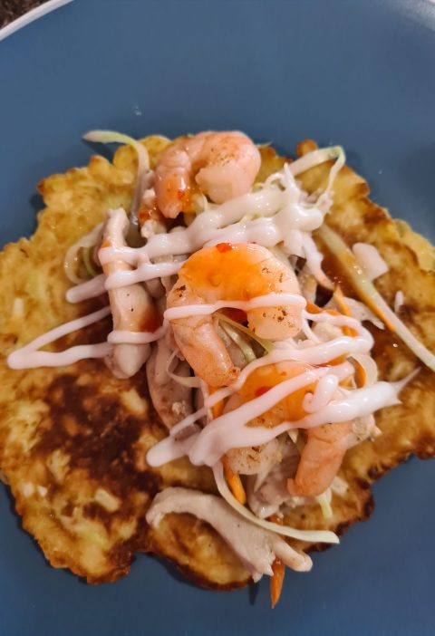 Okonomiyaki with prawns