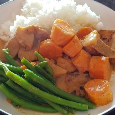 sweet potato red curry with beans and rice
