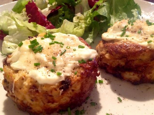 Cauliflower cheese & roasted garlic twice-baked soufflés