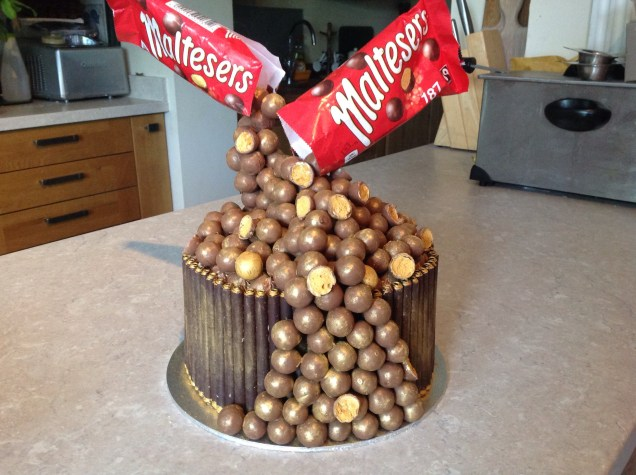 floating Maltesers cake with salted caramel ganache