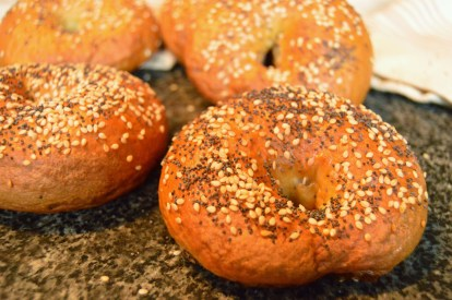 Onion bagels with poppy & sesame seed topping