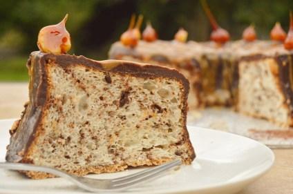 Chocolate & salted caramel Angel food cake