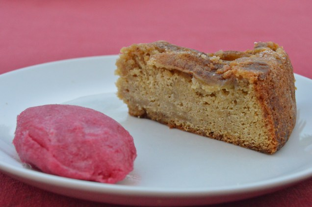 Pear & ginger cake, served with a rhubarb sorbet